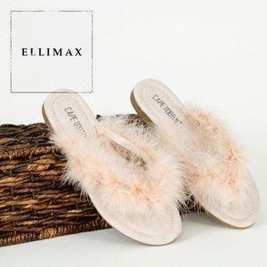 NEW🔥 Feather Fur Open Toe Flat Sandals Flip Flops